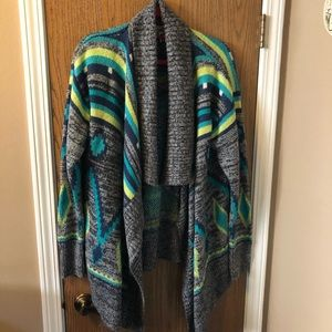Colorful wrap sweater